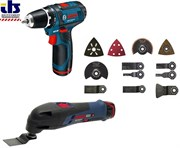 Bosch Аккумуляторная дрель-шуруповёрт GSR 10,8-2-LI + Мультишлифовальная машина GOP 10.8 V-Li АКЦИЯ!!! + 36 предметов оснастки в чемодане L-BOXX 0615990cc2