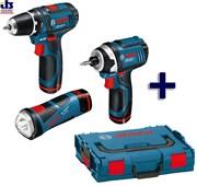 Bosch Аккумуляторная дрель-шуруповёрт GSR 10,8-2-LI + Гайковерт ударный GDR 10.8 Li + Фонарь GLI 10.8 V-Li все в чемодане L-BOXX АКЦИЯ!!! 0615990cl0
