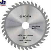 Диск пильный 130х20/16 мм 36 зуб. по дереву OPTILINE ECO WOOD BOSCH (твердоспл. зуб) (2608641782)